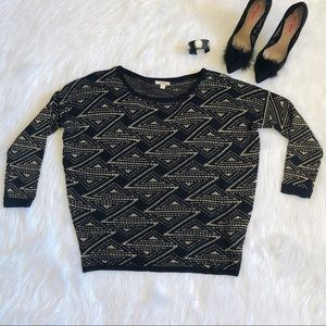 Timing Brand, Black and Gold Sweater, Size ( M )